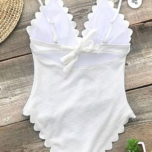 Cupshe White Scallop One Piece NWT